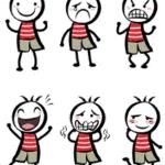 Comicbilder von Kindern mit unterschiedlichen Gefühlen