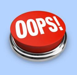 "Roter Button mit Aufschrift ""Oops"""