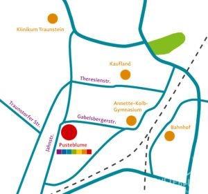 Karte von Traunstein, in der die Pusteblume eingezeichnet ist